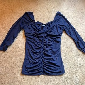 Boston Proper Navy Top with Ruching Large